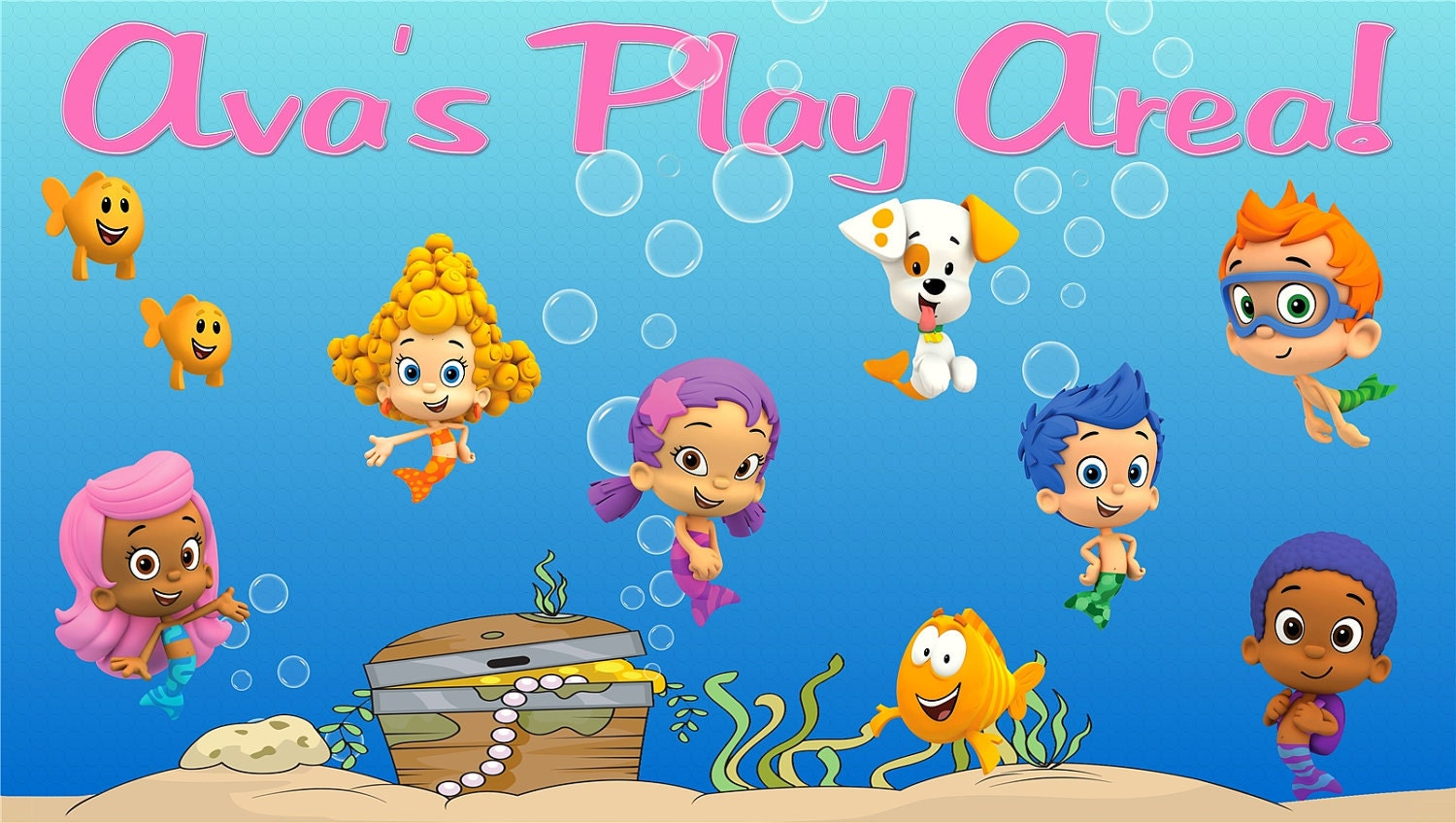 Bubble guppies personalized custom room by graphicmagicdesigns - Bubble guppies bedroom decor ...