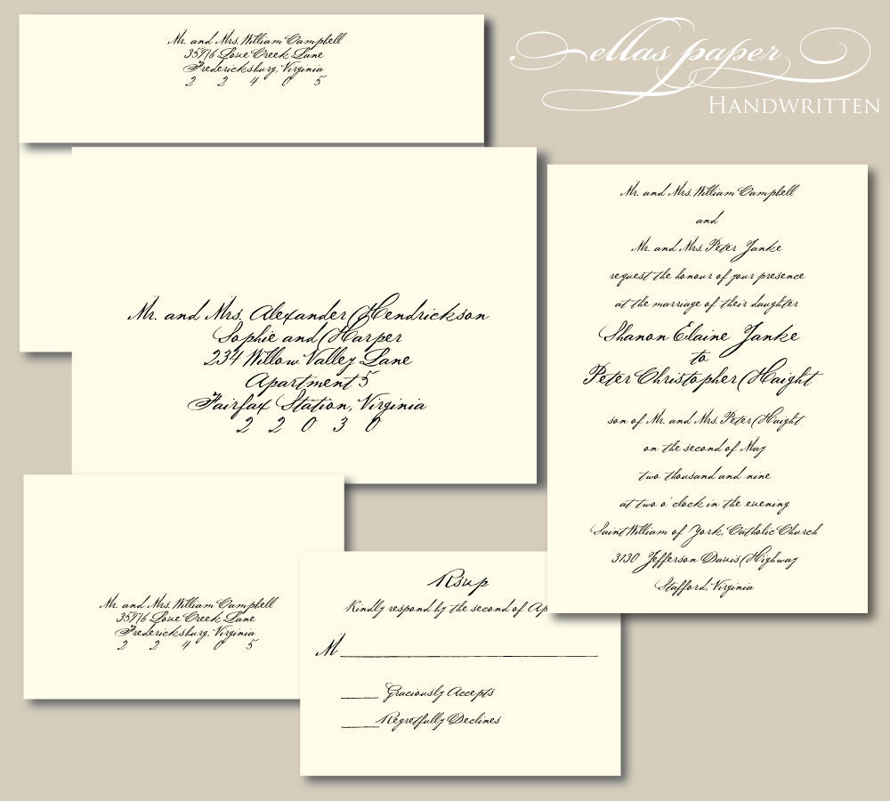 Items Similar To Handwritten Wedding Invitation On Etsy