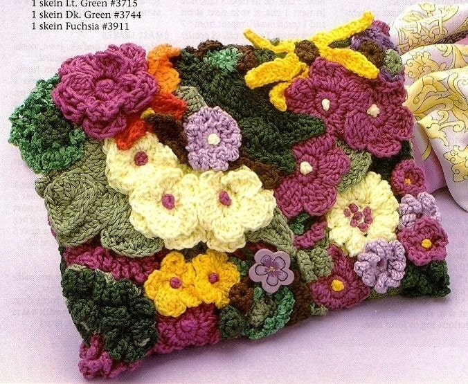 Crochet Patterns Only : Items similar to X877 Crochet PATTERN ONLY Bright Floral Clutch Purse ...