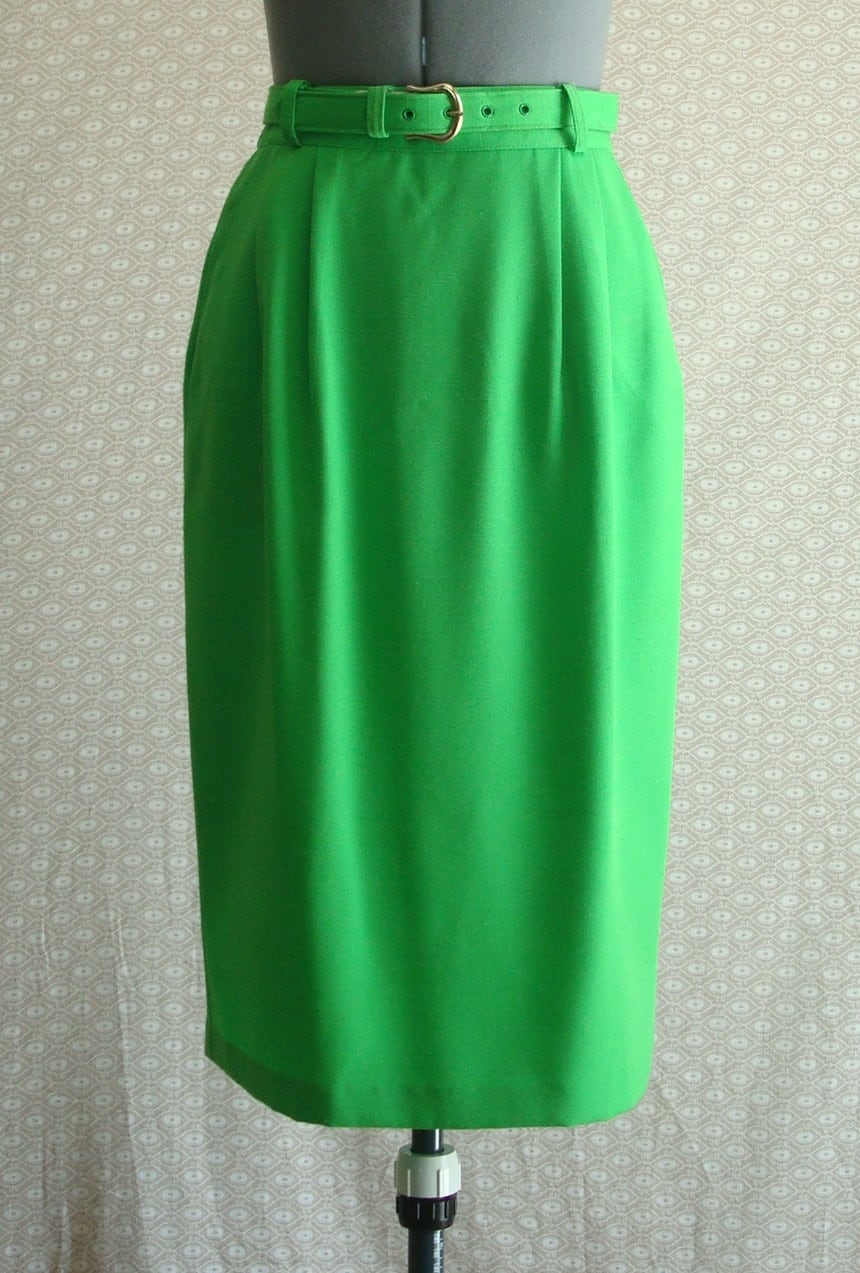 a sour apple green pencil skirt w matching by avintagevestige