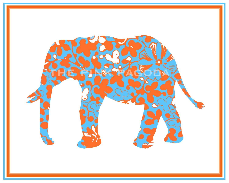 Orange and Turquoise Elephant Giclee 8x10