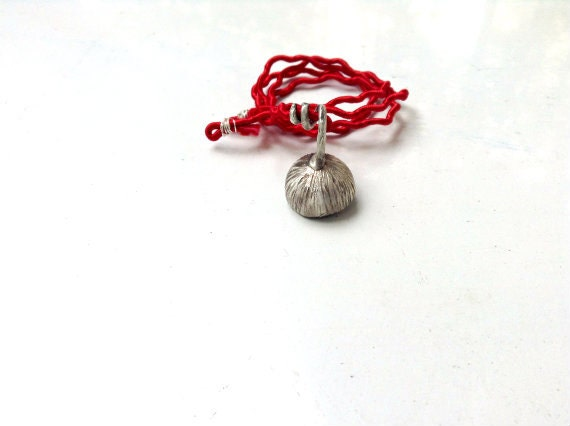 Blossom pendant Red silk Sterling silver Botanical Jewelry - CyKLu