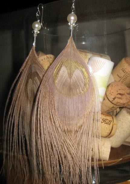 Blonde white peacock feather earrings