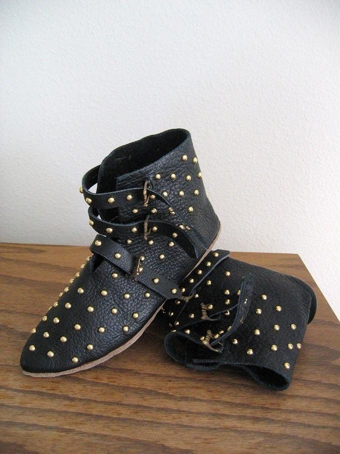 WoodPunk - Avant Garde Handmade Gold Studded All Over 3 Buckle Leather Ankle Boots in Black