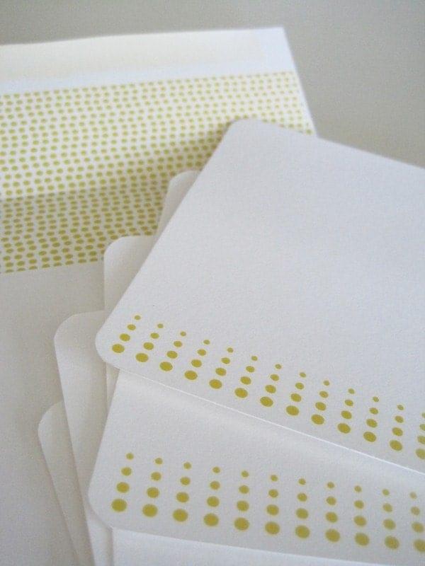 Set of Five Dot Notecards (Yellow)