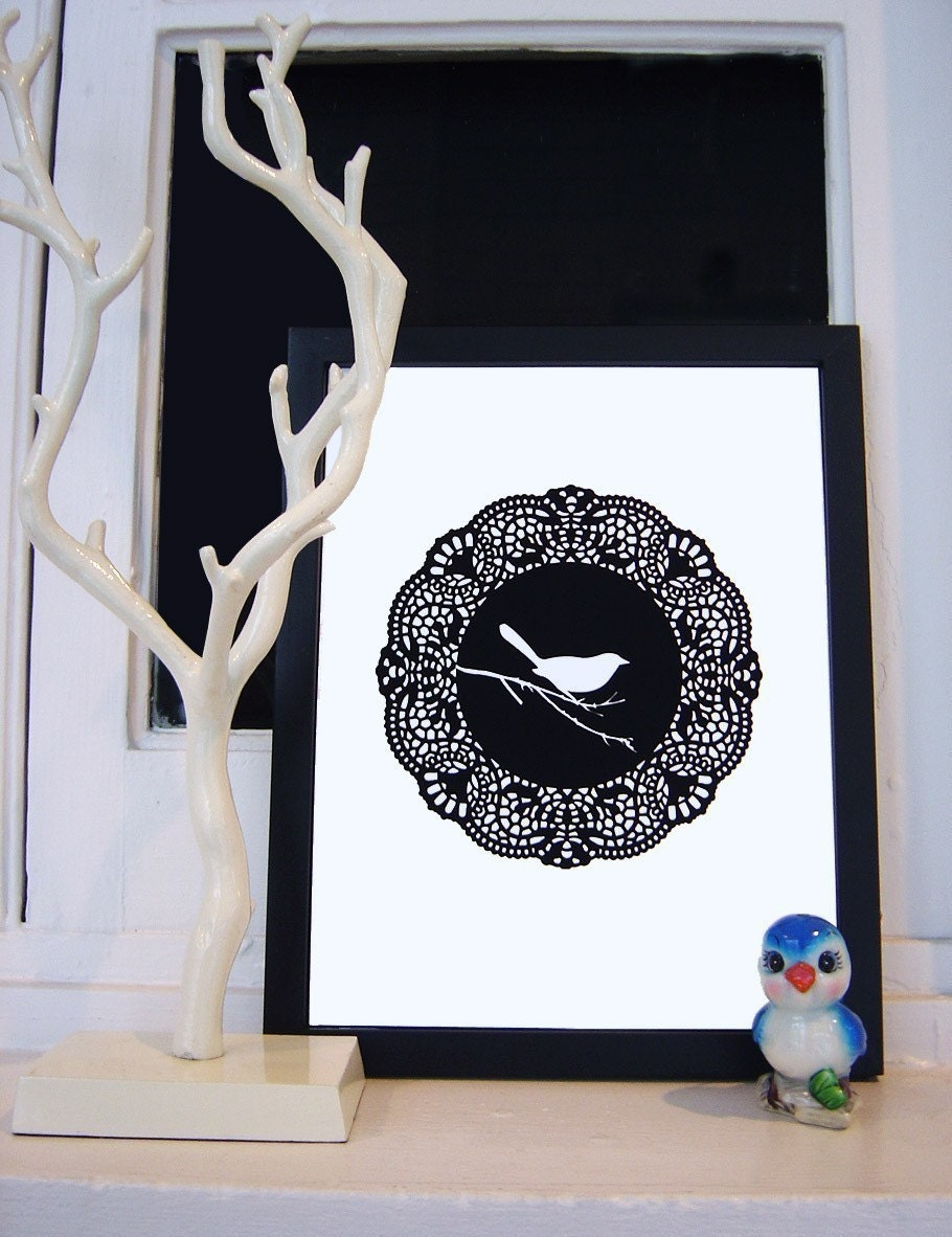 doily bird UNFRAMED print
