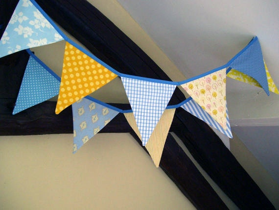 Random 10 fabric bunting/banner in blue and yellow....SUNSHINE and BLUE SKIES