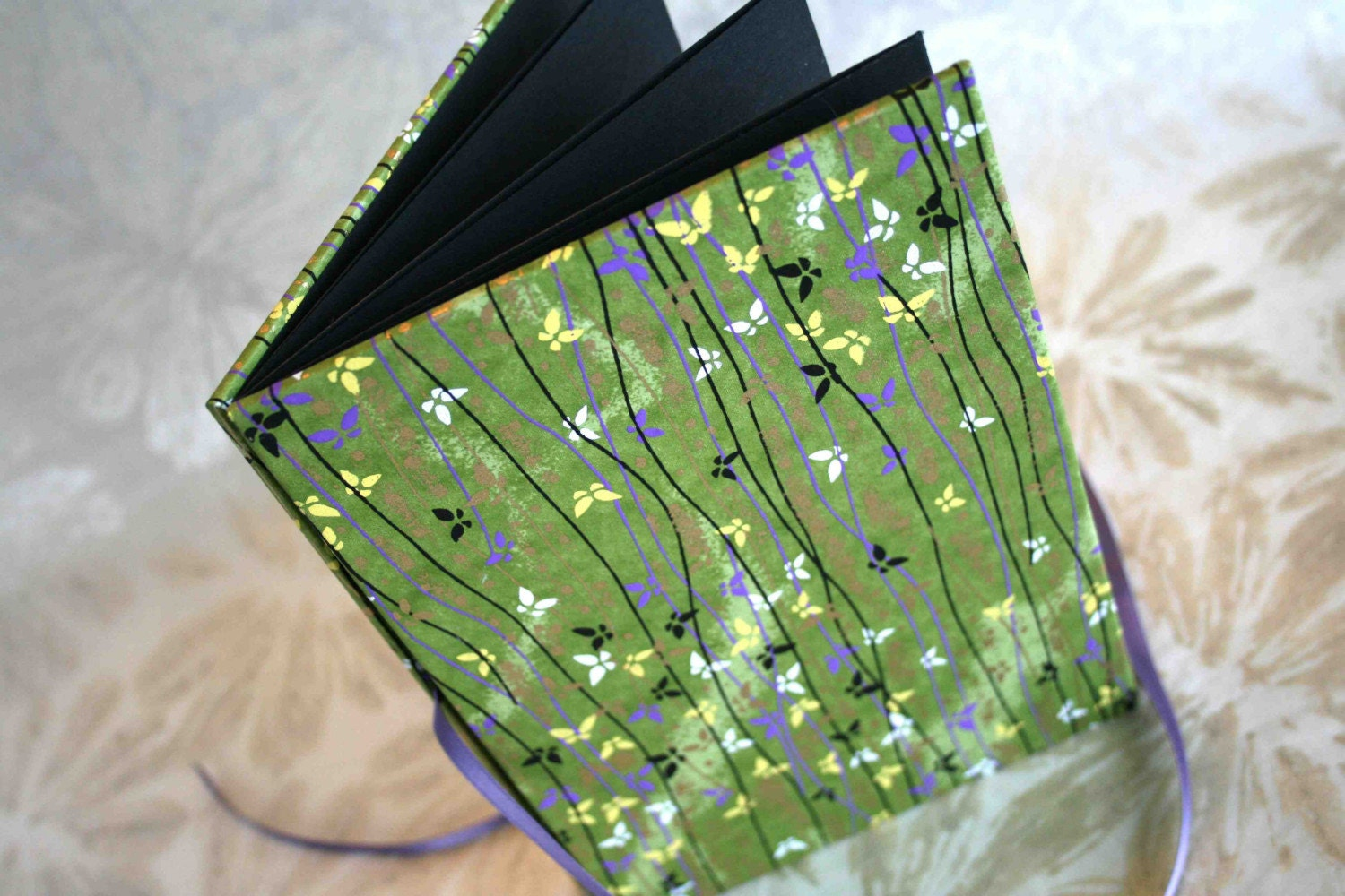Accordion Style Photo Album - green and gold butterflies