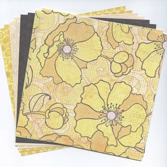 Yellow Pink Poppy 6X6 Paper Stack - klow
