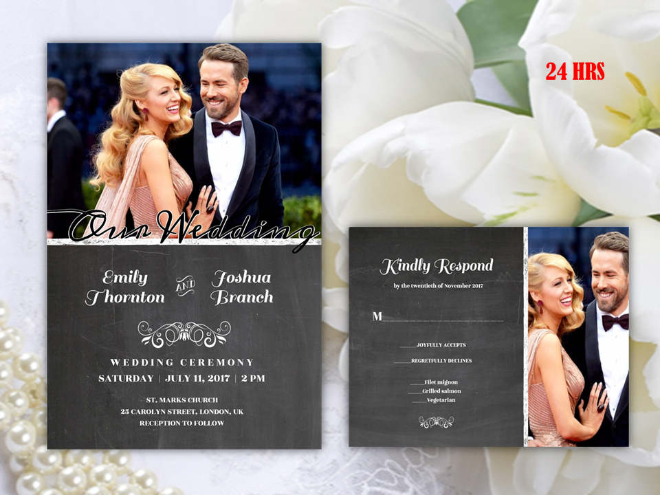 Black Chalkboard Photo Wedding Invitation Sets Printed  Printable Wedding Invite and RSVP or Save The Date  Affordable Wedding Cards