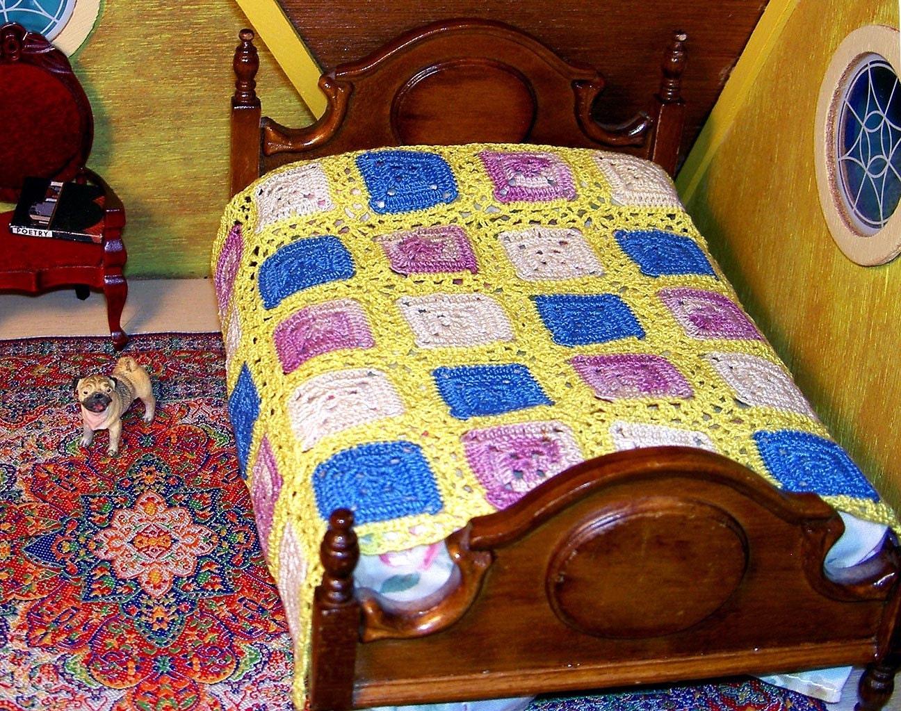 Springtime miniature dollhouse bedspread yellow blue purple