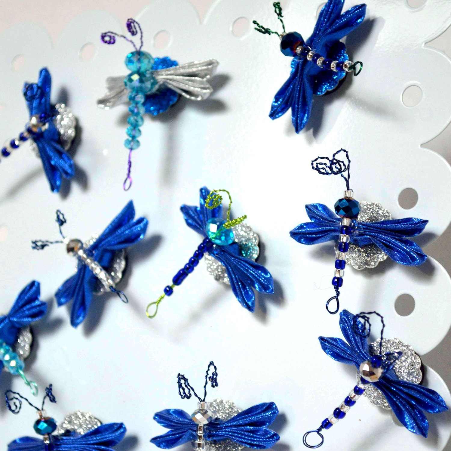 Holiday Bugs Hanukkah Bugs Blue Silver Kanzashi Dragonfly Magnets M201 - fostersbeauties