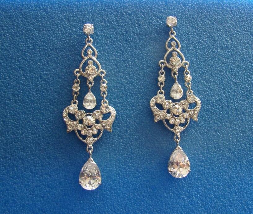 SALE -- Bridal Cubic Zirconia Rhinestone Earrings ---- 60 percent off ----