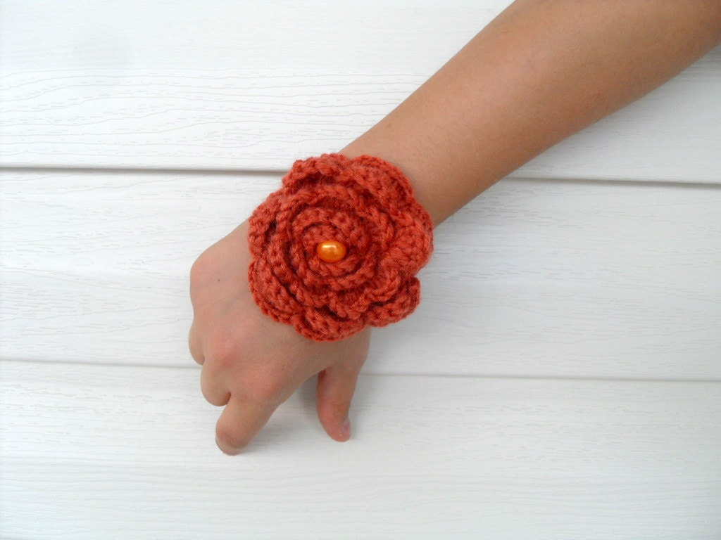 Crocheted Bracelet Rusty Orange Christmas Gift With Pearl Bead Earth Tones Burnt Orange-TeamT