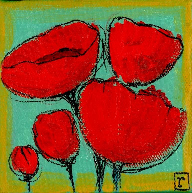 "Red  poppies painting contemporary art for sale - ""Bouquet of  Poppies"""