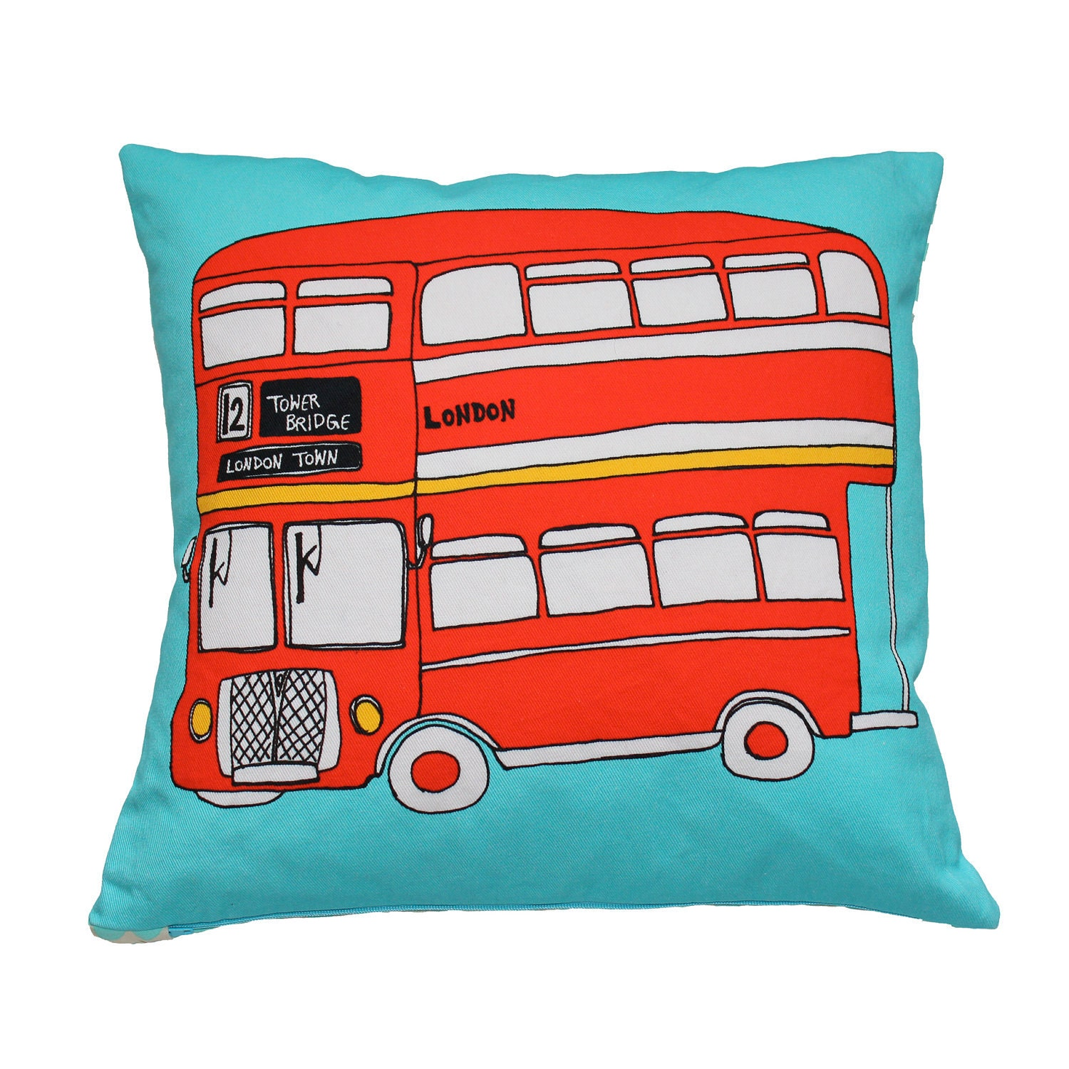 SALE - London Bus Illustration Cushion