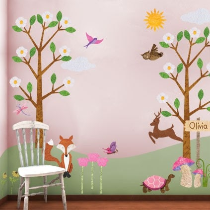 pink forest wall mural for girls room with free by