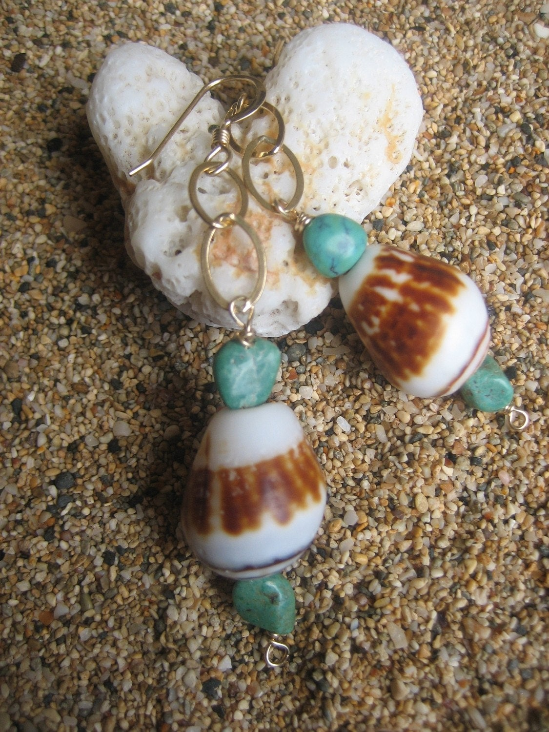 Maui Shell Turquoise Nugget Earrings