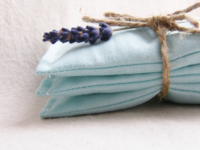 Lavender Sachets, Blue Aqua, Set of 3, Organic Sachets, Shabby Chic