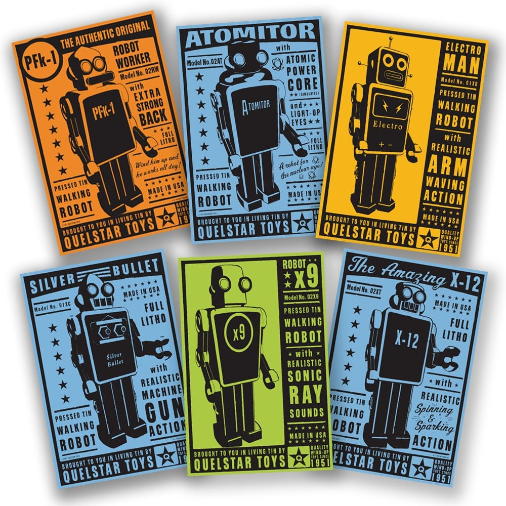 The Quelstar Six - Set of 6 Robot Box Art Illustrations 8 in x 12 in