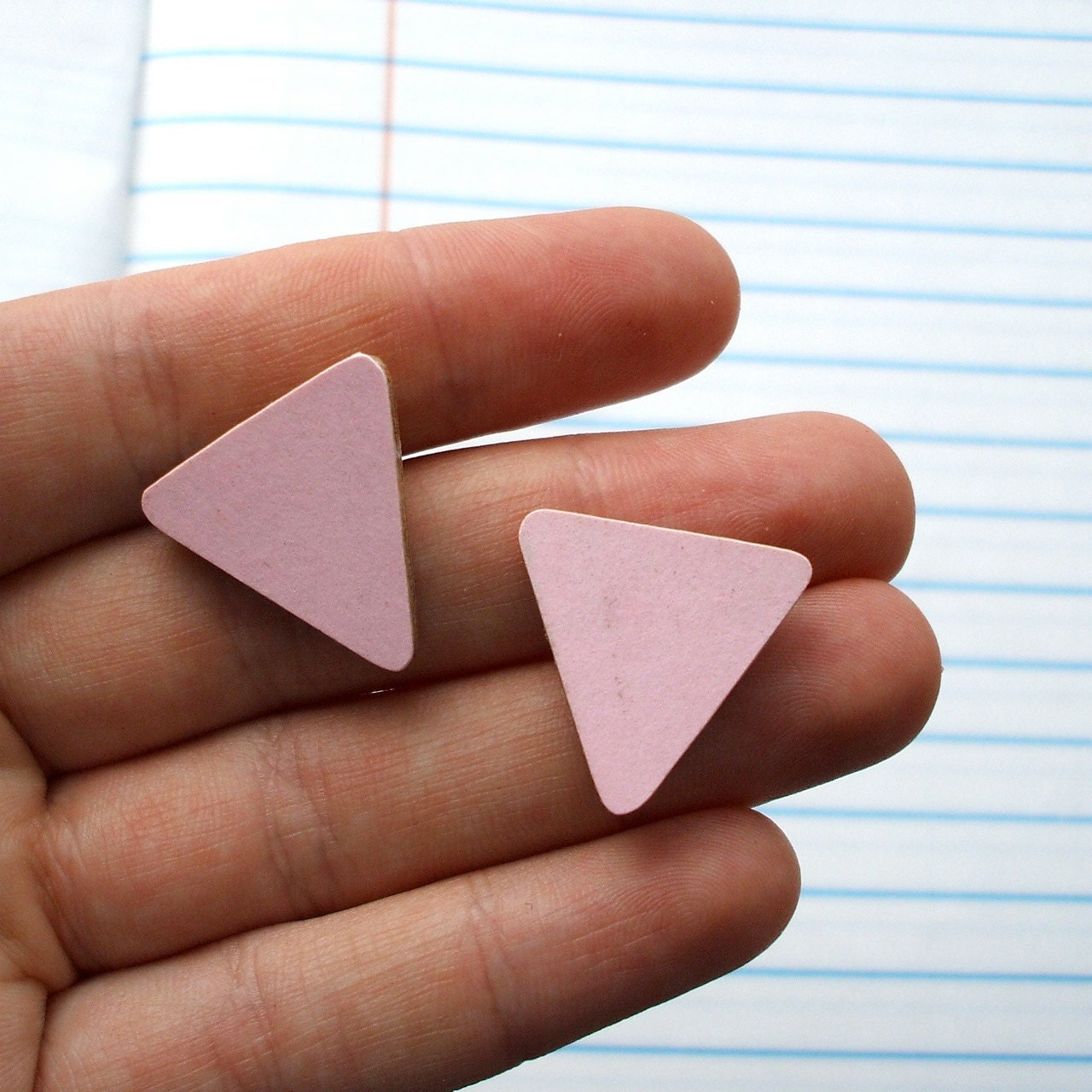 Pale Pink Bunting Flag Triangle Earrings