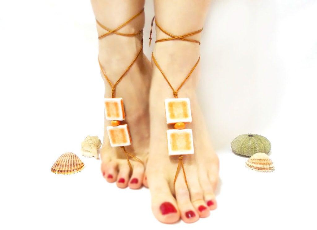 Brown, Orange beaded barefoot sandal, chamois leather, Anklet, Brown barefoot sandal, yoga, lolita, wedding barefoot sandal,beach - CatsAndSheeps