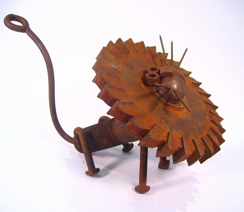 Recycled Metal Lion Sculpture-Found Object