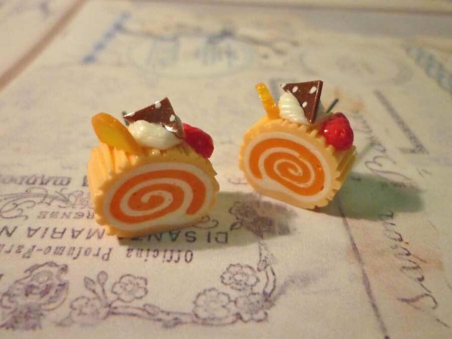 Orange Roll Cake Earrings