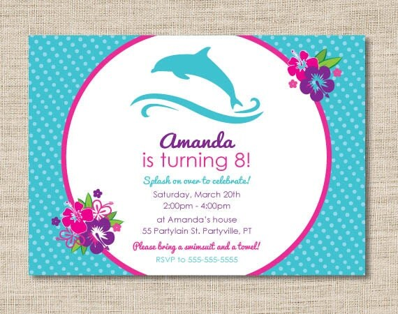 Personalized dolphin birthday party invitations by ...
