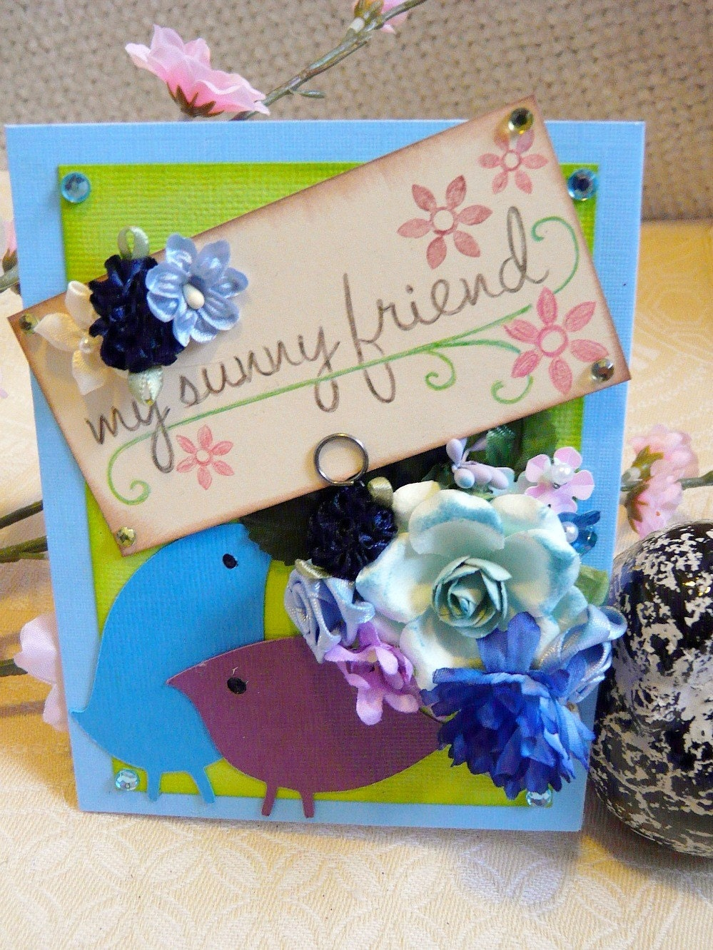 My Sunny Friend - Everyday Spring OOAK Shbby Chic Card - Purple and Blue Birds - Flowers, Gems, Stamped, Blue Card - Envelope