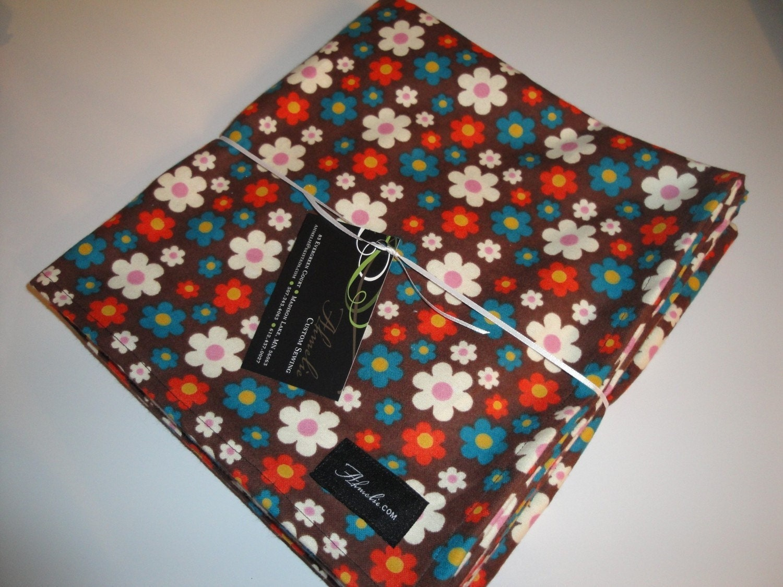 Retro Flowers Baby Blanket Swaddler--LARGE