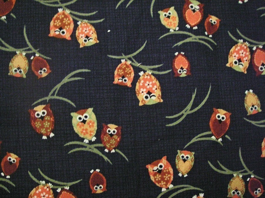 Winking Owl on Blue - Japanese Cotton Fabric Half Yard (last piece)