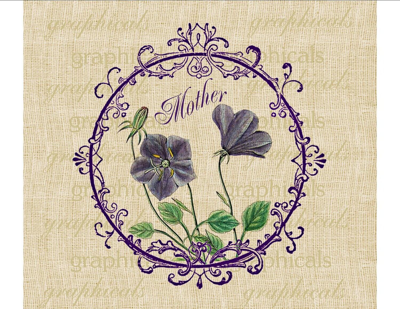 Фиолетовый Фиолетовый цвет кадра с или без слов матери скачать в цифровом формате для передачи в мешковину ткани подушки Декупаж карты N 614