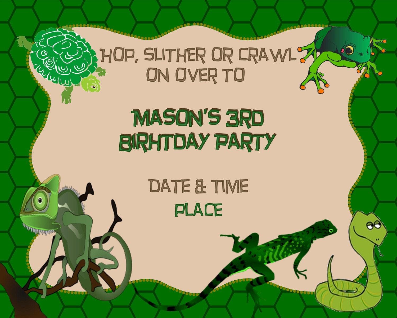 Reptile Birthday Invitation by MMcardDesigns on Etsy