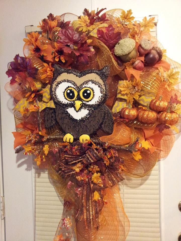 Fall weatherproof Door wreath. deco mesh and ribbon with acorns and pumpkins and owl - AutumnsOriginals