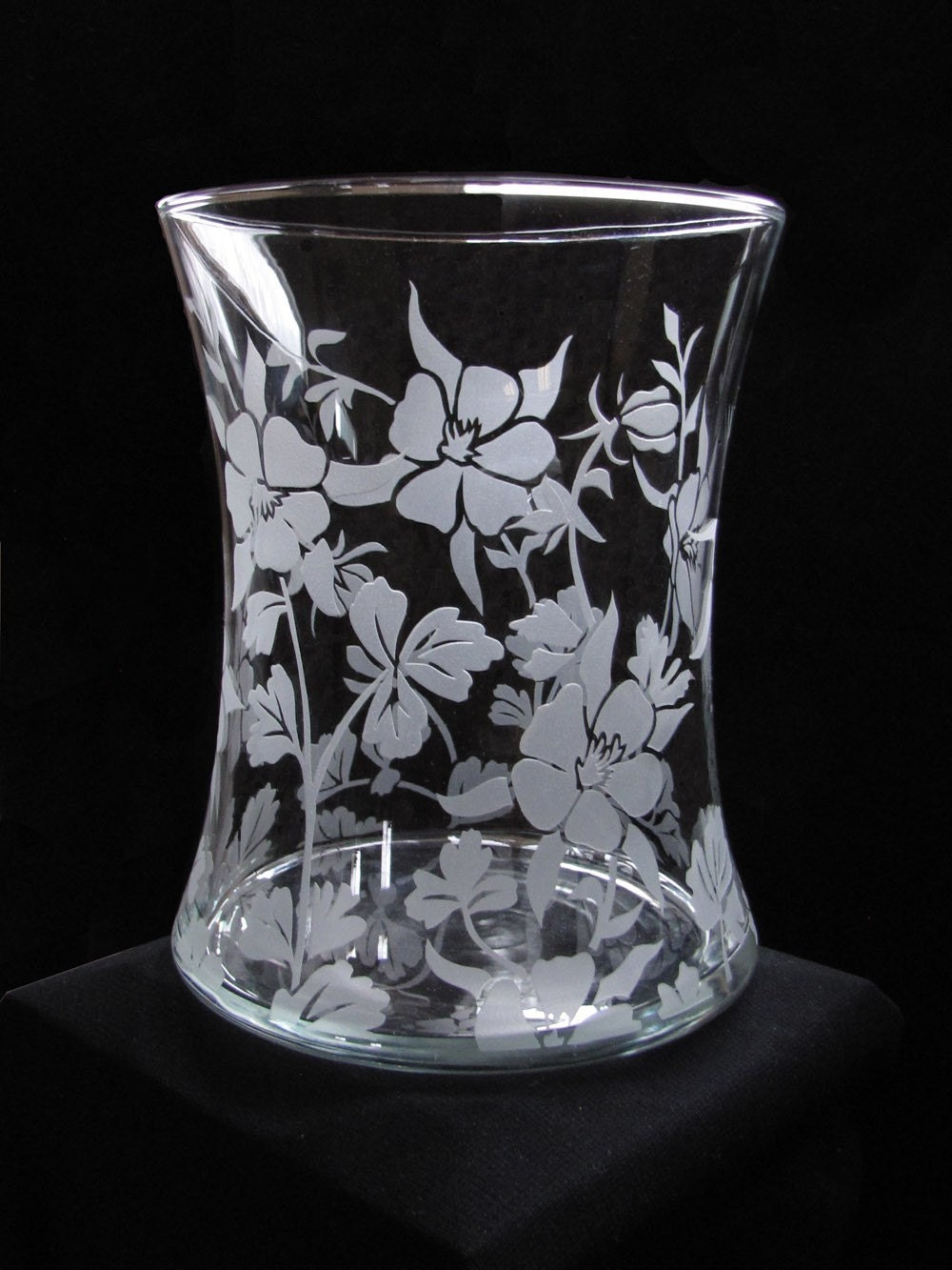 Columbine Flower Vase, etched