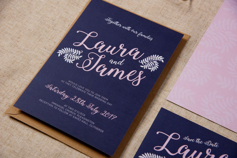 Contemporary Modern Romantic Rustic Wedding Invitation