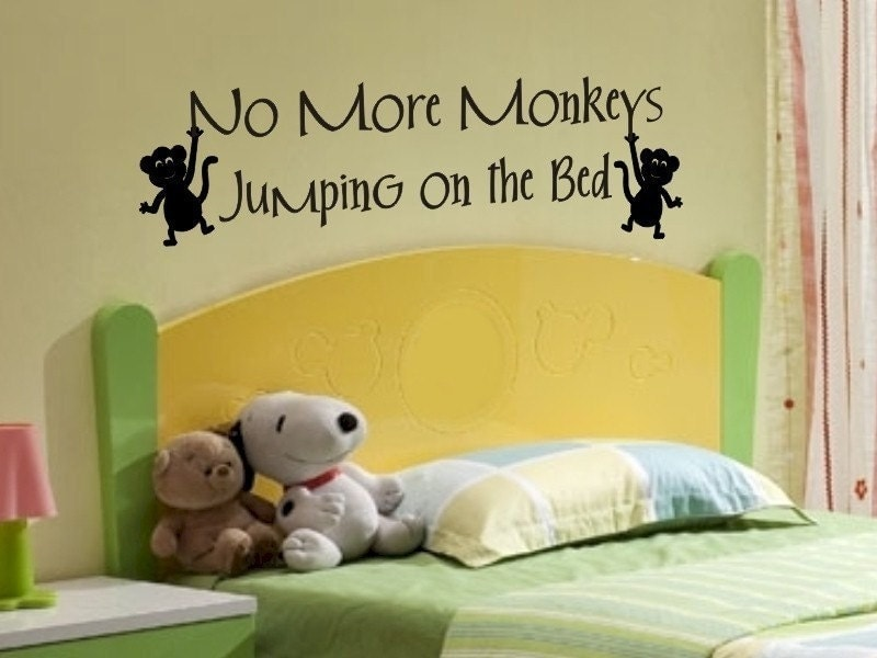 items similar to wall quote sticker decal no more monkeys. Black Bedroom Furniture Sets. Home Design Ideas