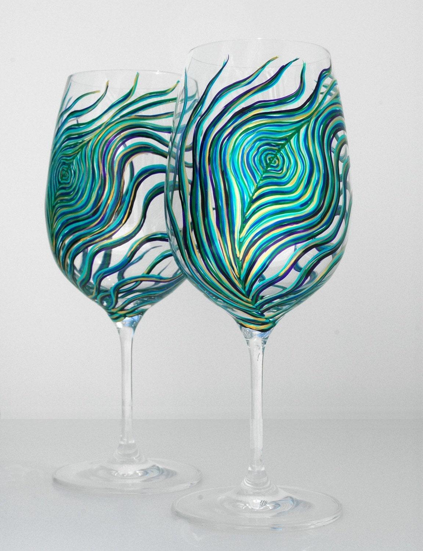 etsy peacock wine glasses