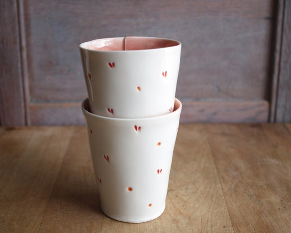 coral heart tumblers