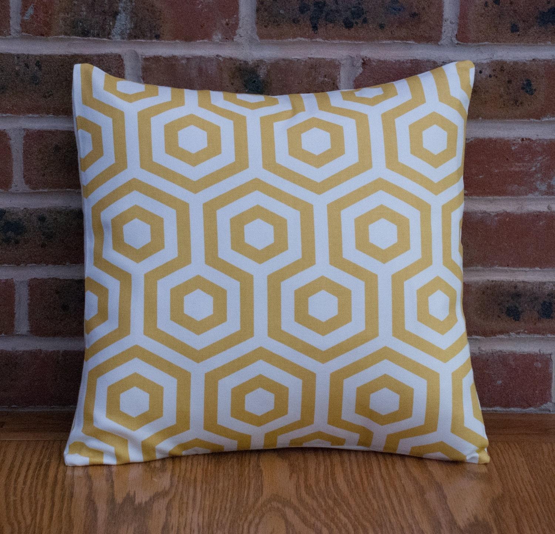 Bright Yellow Bold Hexagon Shapes 16  40cm Geometric  Cushion Cover