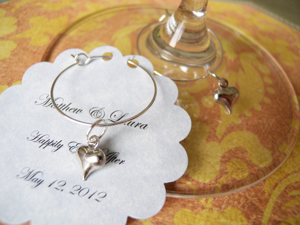 wedding favors wine glass charms hearts by