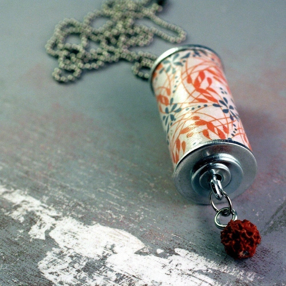 Orange and Grey Abstract Wine Cork Necklace - Upcycled Jewelry
