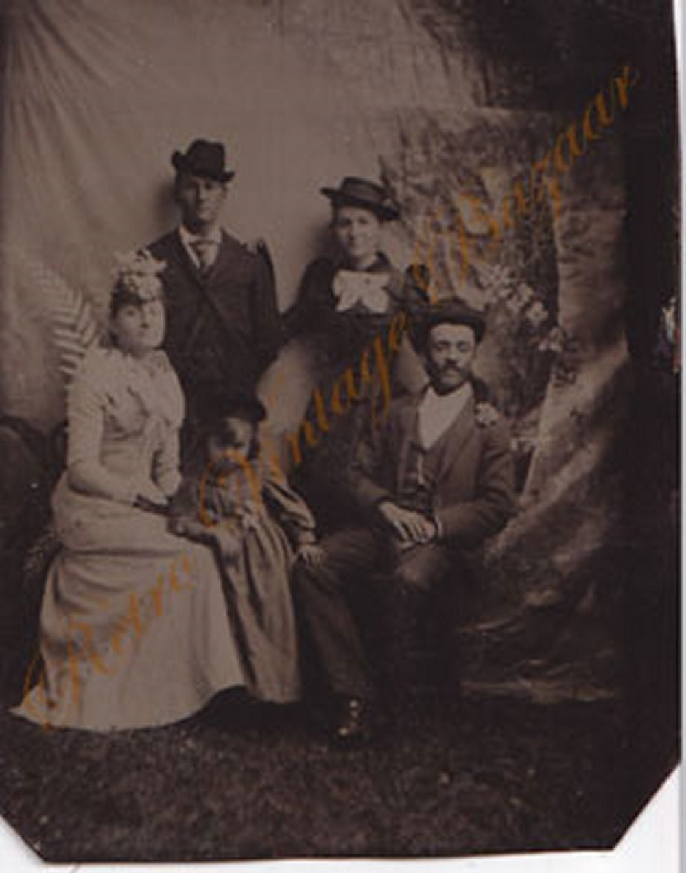 Tintype Photo Circa 1800s Family with Hats