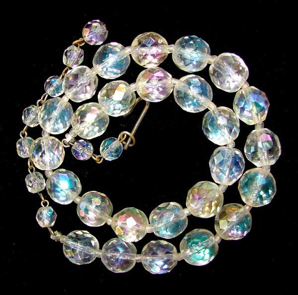 Vintage Faceted Crystal Arora Borealis Beaded Bib Choker Necklace ... Oh Faro