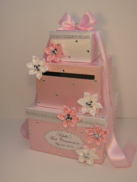 Wedding Shower Gift Card Box : and Light Pink Wedding Card Box Baby Shower Gift Card Box Money Box ...