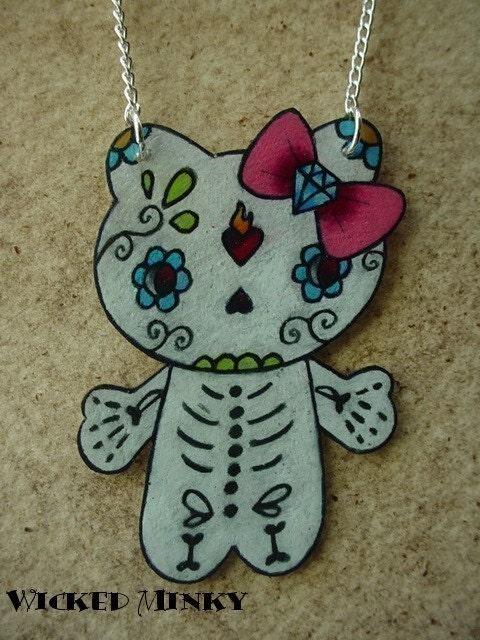 dia de los muertos hello kitty necklace