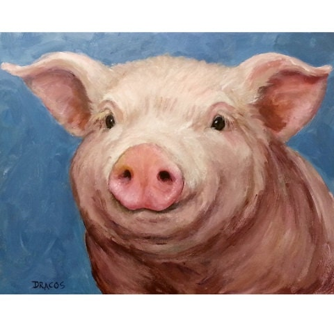 Pig Art Original Acrylic Painting 11x14 On Blue By
