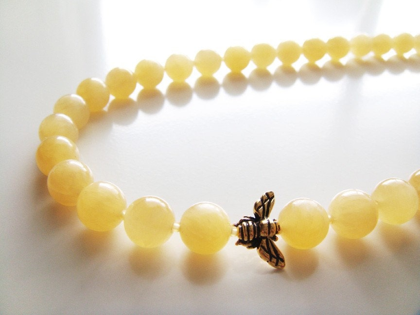 Lemon Drop Necklace  Yellow Jade and Gold Honey by petitehermine from etsy.com