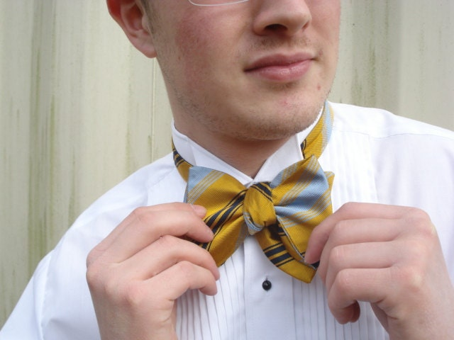 Large Striped Butterfly Bow Tie Self Tie Adjustable